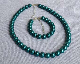 teal pearl set,pearl necklace,pearl bracelet,big pearl set,teal glass pearl,bridesmaid gifts,Beaded Jewelry,wedding