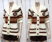 70s grandpa cardigan with wooden buttons - xs or small