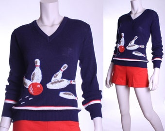 50s Let's Go Bowling! Cyn Les Shirlee v-neck sweater - xs small or medium