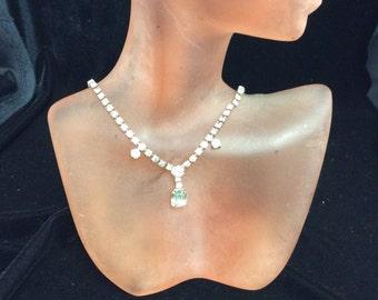 Vintage Rhinestone Drop Pendant Necklace