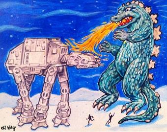 Godzilla vs AT-AT -- 8x10 Art Print