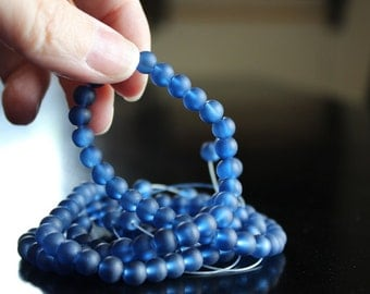 140 approx. navy blue 6 mm frosted glass beads, 1mm hole, round glass beads