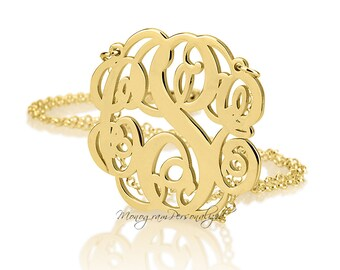 Monogram necklace - 1.75 inch Personalized Monogram - 18k Gold Plated over 925 Sterling Silver