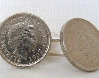 Boxed Pair  British 2001 Five Pence Penny Coin Cufflinks Wedding Birthday Anniversary