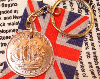 1955 Ha'penny Old Half Penny English Coin Keyring Key Chain Fob Queen Elizabeth II