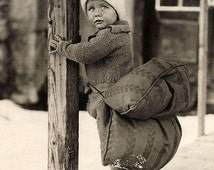 Young Dutch Boy with safety cushon 1933- Netherlands- Holland- Ice Skating  :Old   Photograph Photo Art Print -Reproduction