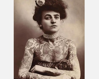 Tattooed Woman from the 1800s-George Burchett's Wife Famous Tattoo Artist- Photo Print