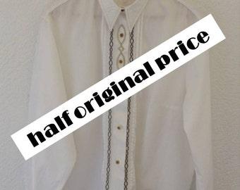 Vintage Seidensticker oversized western twist white cotton shirt