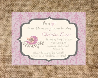 Baby Shower Invitation, pink damask with birds, personalized and printable, 5x7