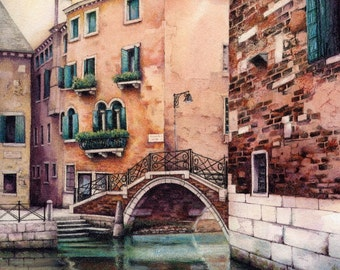 """Original watercolour painting of Venice canal 