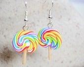 Polymer Clay Lollipop Earrings - Rainbow Lollipops Jewellery
