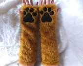 Brown / Colour Choice Elbow Length Furry Faux Fur Cat Wolf Fox Bear Cat Paw Gloves Fingerless Long Arm Warmers Winter Christmas Halloween