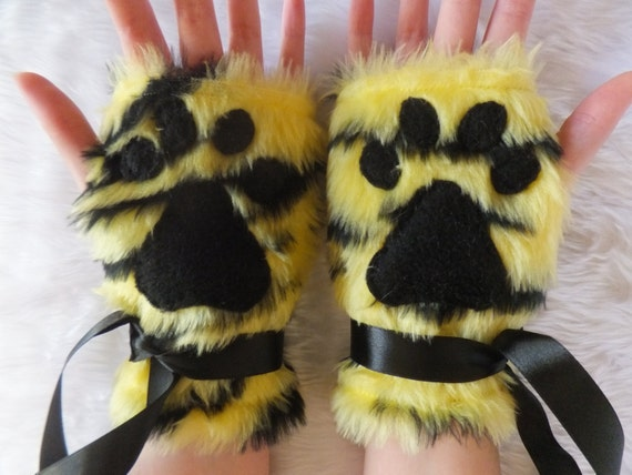 yellow amp black tiger stripe furry paw print fingerless gloves