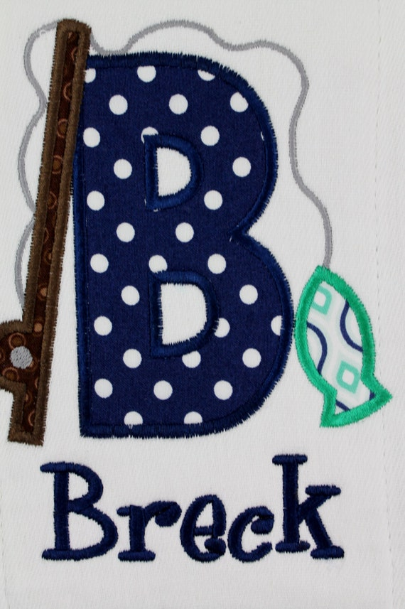 Fishing burp cloth personalized and appliqued fishing rod and for Teal fishing pole