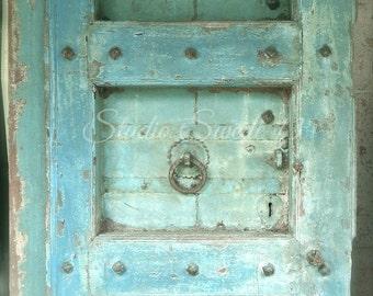 """Door Photography, Old Door Art, Architecture Photo, Aqua Blue Rustic Decor, Shabby Aqua Door Photo, Farmhouse, Savannah Art- """"Aqua Amour"""""""