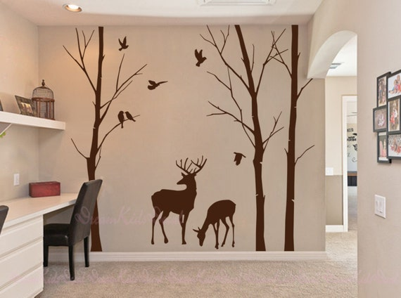 bouleau stickers arbres stickers muraux cerf stickers muraux. Black Bedroom Furniture Sets. Home Design Ideas