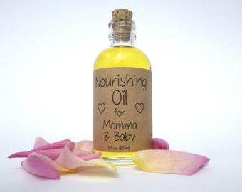 Nourishing Baby Oil // All Natural Organic // New Mom Baby Shower Gift Under 10 // Vitamin E & Avocado Oil Rose Geranium