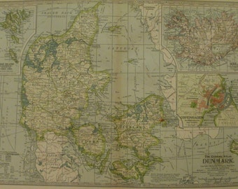 "Denmark Map,Features Iceland Zealand Bornholm Copenhagen Faroe Islands,Map in Europe,100+ Years Old,Place on the World Map,1906 11""x16"" VS13"