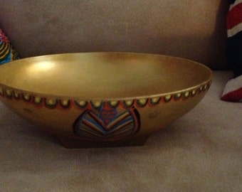 Hand Painted Gold Glass Decorative Bowl  X0009