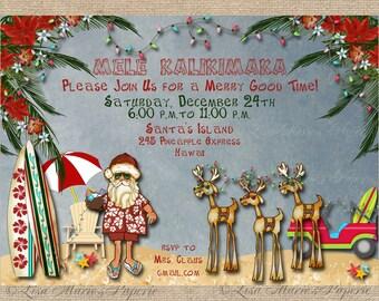 hawaiian christmas party invitation, santa claus party invitation, christmas party, christmas invite - Digital File - DIY PRINTABLE
