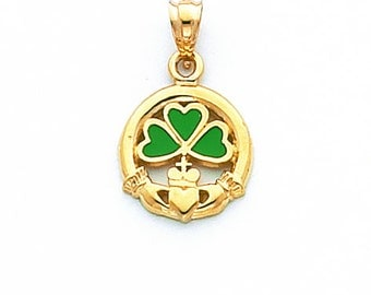 14K Yellow Gold Claddagh Pendant, Three Leaf Clover Pendant, Friendship Pendant, Lucky Jewelry, Irish Jewelry, Claddagh Jewelry