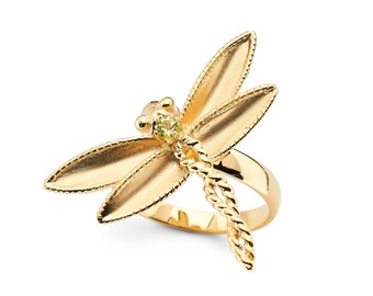 14K Yellow Gold Peridot Dragonfly Ring, Dragonfly Ring, Dragonfly Jewelry, Gold Dragonfly, Peridot Jewelry, Dragonfly, Peridot