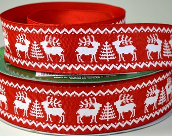 """1 1/2"""" Christmas Reindeer Wire Edged Ribbon"""