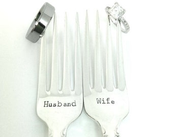Husband Wife Forks Set - Hand Stamped Vintage Silverware, wedding forks, wedding silverware, wedding gift, bridal shower, anniversary gift