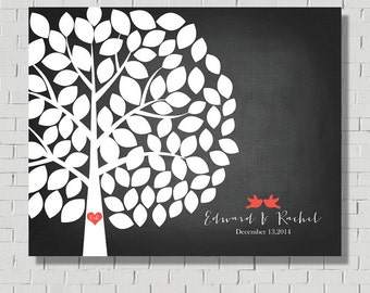 Wedding Tree - Guest Book Alternative - Rustic Wedding Tree - Guest Book Print, Faux Chalkboard Wedding Sign, Gift for bride, Wedding Poster
