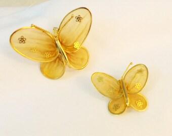 Vintage mesh butterfly brooch set pin set gold mesh butterflies