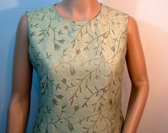 Vintage sage green shadow burn linen sheath dress from Jones Wear