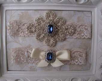 Wedding Garter - Bridal Garter - Ivory and Blue Crystal Rhinestone and Pearl Garter and Toss Garter Set