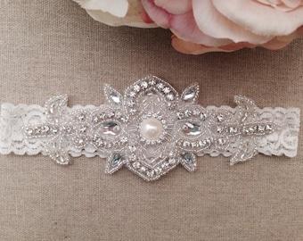 Ivory Wedding Garter - Rhinestone Garter - Pearl Garter - Wedding Garter Belt - Keepsake Garter - Bridal Garter