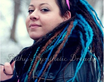 Full kit of CUSTOM long natural synthetic dreads / dread extensions