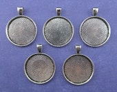 "20 - 1 Inch Round Pendant Trays - Antique Silver Color - Vintage Antique Style Pendant Blanks Bezel Setting 25 mm 1"" Diameter"