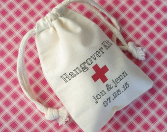 "Personalized Hangover Kit Cotton Muslin Bag, Wedding Favor Bag, Size 3""x4"" and 4""x6"""