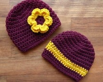 Crocheted Baby Twin Hat Set, Twin Boy/Girl Hat Set , Maroon & Gold Baby Hats, College Color Baby, Size Newborn to 24 Months - MADE TO ORDER