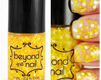 Pixelated Sunshine - Yellow Mix Glitter Nail Polish