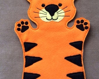 Popular items for animal hand puppet on etsy for Tiger puppet template