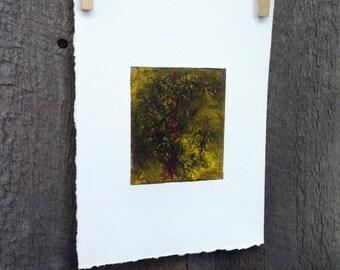 Yellow Abstract Collograph Print