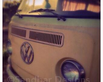 Sunset hula girl VW bus