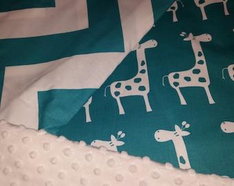 Teal and White Giraffe, Chevron and minky dot 4 piece crib set