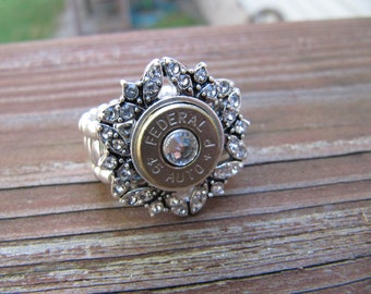 Bullet Ring with Rhinestones and Swarovski Crystal Accents - Stretch 45 Bullet Ring - April Birthstone  - Bullet Jewelry - 2nd amendment