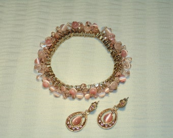Pink Glass Tiger Eye Bracelet And Earrings - Good Condition -  FREE SHIPPING.