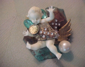SteamPunk BabyDoll  Brooch, Very Boho And Whimsical