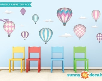 Hot Air Balloons Fabric Wall Decals with 9 Hot Air Balloons and 6 Clouds - Pink - Standard Sized - Available in 5 Color Options and 2 Sizes