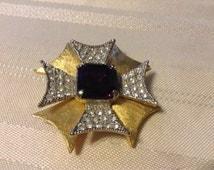 Purple or Amethyst Maltese Cross Brooch