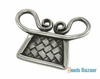 Karen Hill Tribe silver Weaving Spirit Lock Charm ( 1 piece )