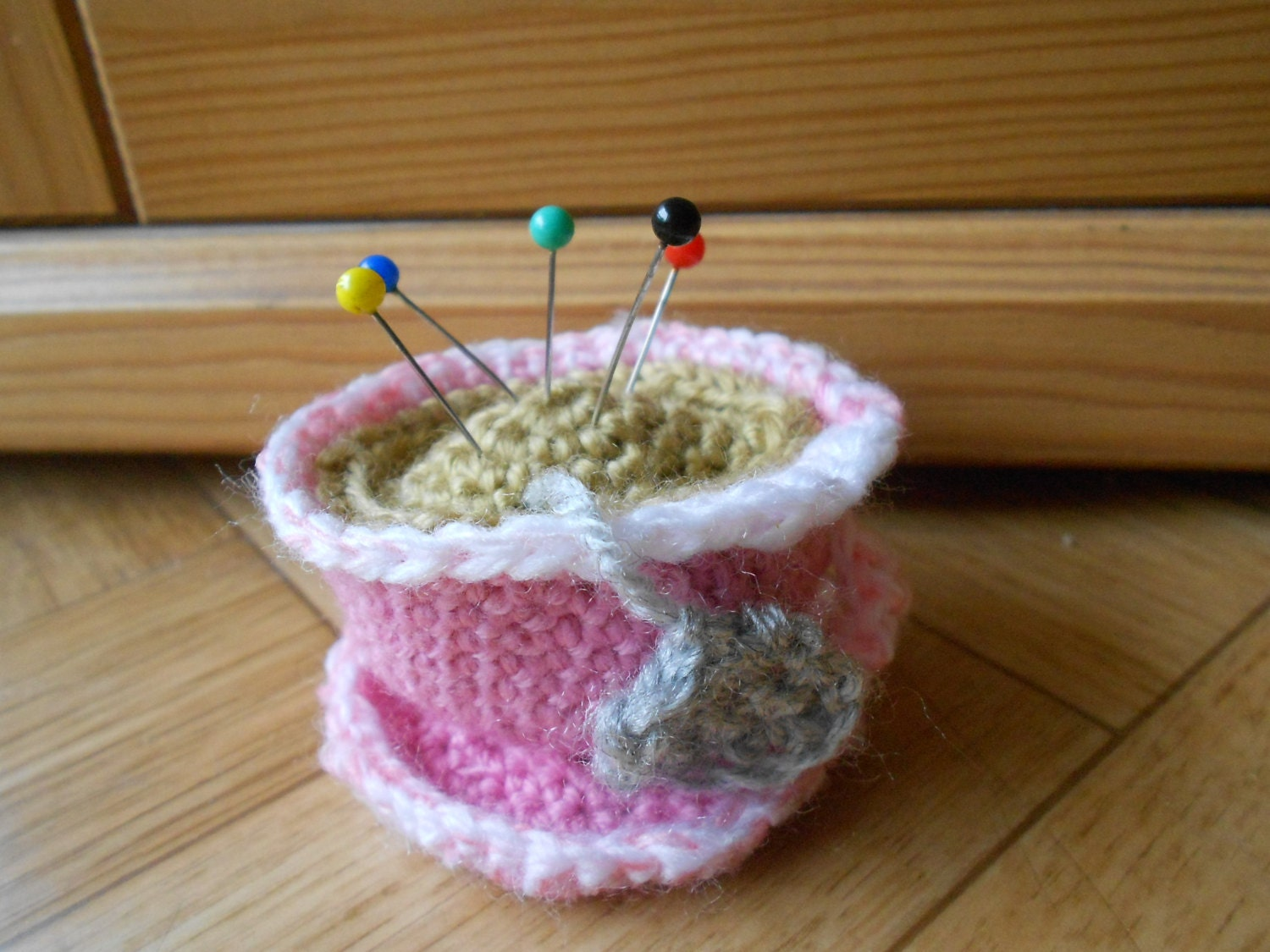 Crochet pincushion Pink tea cup pin cushion by ...