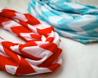 Chevron Scarf in Red and White, Cotton, Infinity, Infiniti